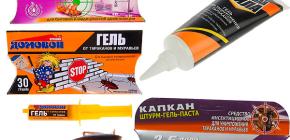 Gels van kakkerlakken en nuances van hun toepassing (Brownie, Trap, Killer, etc.)